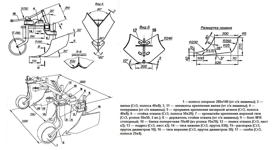 Схемы и чертежи окучника для