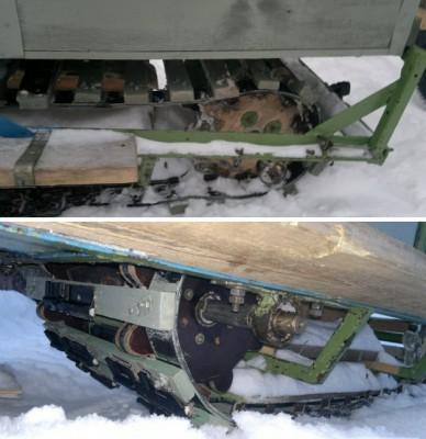 Как переделать мотоблок в снегоход фото