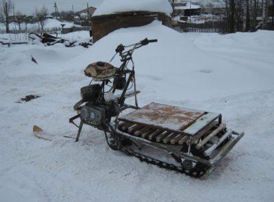 Как сделать самодельный снегоход из мотоблока на гусеницах фото