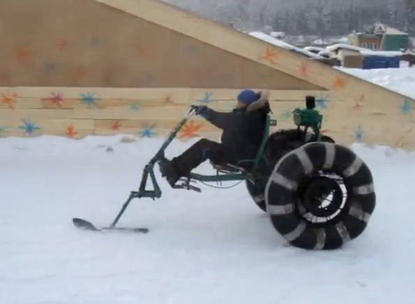 Снегоход на колесах своими руками